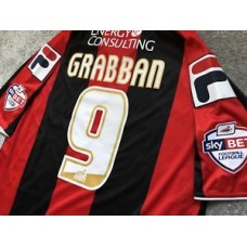 AFC Bournemouth Home Shirt 2013/14 Season - LEWIS GRABBAN # 9 Jersey/Kit - RARE!