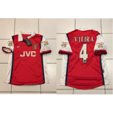 Arsenal JVC VIEIRA Home Shirt 1998-1999 RETRO NEW CHAMPIONS 1998 JERSEY SMALL